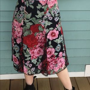 Betsey Johnson Floral and Lace Skirt
